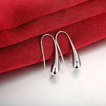 New Water-drop Silver Plated Base Dangle Earring Jewelry