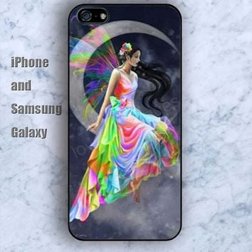 girl with the moon flying rainbow iPhone 5/5S case Ipod Silicone plastic Phone cover Waterproof
