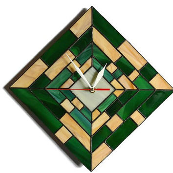 Modern Wall Clock 3d geometric design in green, wood brown and ivory, Unique Wall Decor, Stained Glass Wall Art, Home and Office Decor