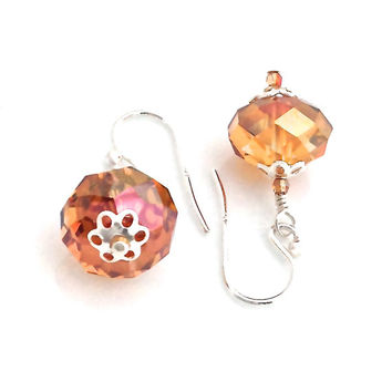 Copper Crystal Earrings, Large Crystal, Autumn Jewelry, Mother of the Bride, Amber, Gold Crystal, Fall Wedding, Sterling Silver