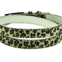 Brown Leopard Skinny Fashion Belt Genuine Leather Rockabilly