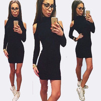 Black Turtleneck Shoulder Cutout Long Sleeves Mini Dress