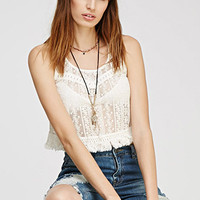 Embroidered Lace Fringed Top