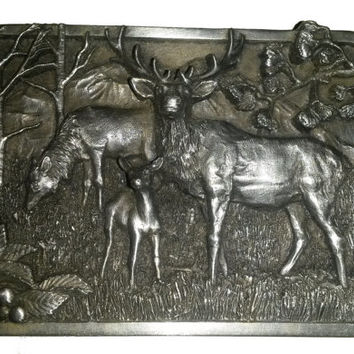 vintage BeLT BuCKLE Elk Family Love forest View Siskiyou brass deer