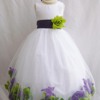CUSTOM COLOR - Flower Girl Rose Petal Dress Wedding Church Easter Red Green Blck Purple White