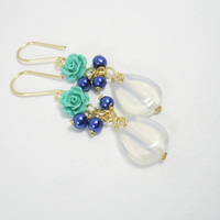 blue long earrings Resin flowers with opal and pearlescent beads/ royal blue and baby blue dangle earrings