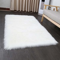 yazi Hot Luxury Rectangle Sheepskin Hairy Carpet Faux Mat Seat Pad Fur Plain Fluffy Soft Area Rug Home Decor 3 Size