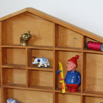 Printer's compartment / wooden house shelf / mini shelf / little wood house / 1980