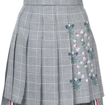 DCCKIN3 Thom Browne Dropped Back Mini Pleated Skirt With Floral Wallpaper Embroidery In Prince Of Wales Heavy Wool