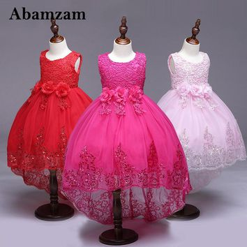 Korean Girls Party Dress 2018 New Cute Formal Kids Embroidery Flowers Tutu Princess Dresses Baby Clothes 3-12y Vestidos Clothing