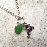 Frog Charm Necklace, Green Sea Glass Necklace, Silver Charm Necklace, Eco Jewelry