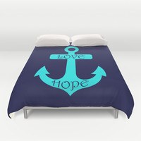 Anchor Navy Turquoise Duvet Cover by Beautiful Homes