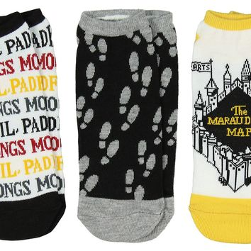 Harry Potter The Marauder's Map No-Show Ankle Socks 3 Pack