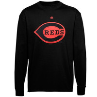 Majestic Cincinnati Reds Black On Black Long Sleeve T-Shirt - Black