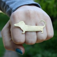 $68.00 Supermarket - Brass (Hot dog) Knuckles from Rachel Pfeffer Designs