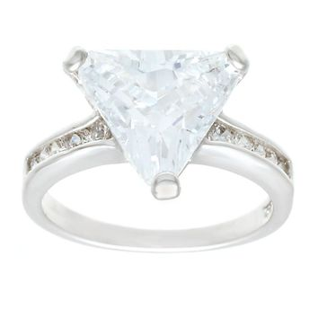 Big Trillion Cut Silvertone Solitaire Fashion Ring With Channel Set Sides in Clear Cubic Zirconia