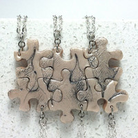 Puzzle Pieces 6 Interlocking Necklaces leaf pattern  set  244