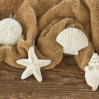 Coastal Seashells Shower Curtain Hooks - Set of 12