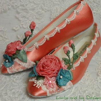Coral Ballet Flats, Wedding Shoes, Flower Girl Flats, Bridal Ballet Slippers