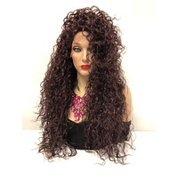 sale Burgundy Swiss lace front wig  Multi parting   Chaka Khan Costume Wig  918 19 Water Sign