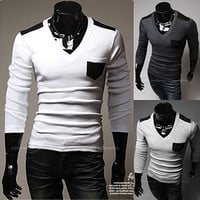 V-Neck Long Sleeve with Color Contrasted Pocket and Shoulders