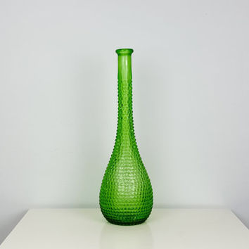 Vintage Tall Green Textured Glass Bud Vase, Studded Glass Vase, Diamond Quilt Vase, Bright Green Decor, Tall Glass Bottle, Vintage Decor