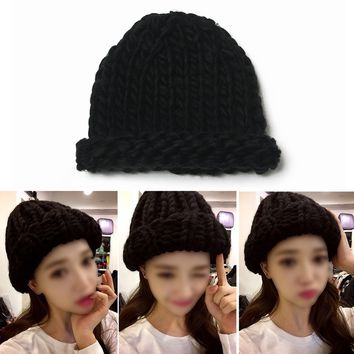 New Women Winter Warm Hat Handmade Knitted Coarse Lines Cable Hats Knit Cap Beanie Crochet Caps Women Accessories