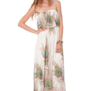 Peacock Maxi Dress in Off White :: tobi