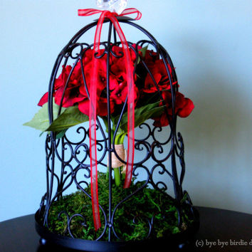 Decorative Black Birdcage with Red Silk Flowers and Crystal Bird / Birdcage for decor / Centerpiece bird cage