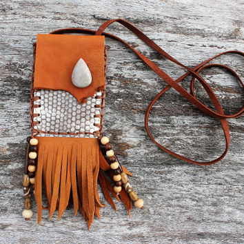 Orange Umber Goat Leather Medicine Bag with Sea Snake Skin, Fossilized Coral, Sandalwood, Rosewood, and Buffalo Bone Beads