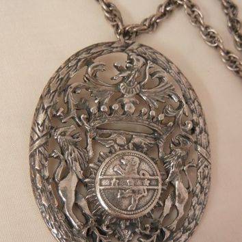Fantastic huge Germany four lion shield Brooch Necklace