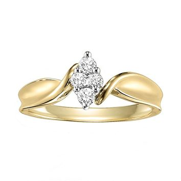 Cherish Always Round-Cut Diamond Marquise Cluster Twist Engagement Ring in 10k Gold (1/5 ct. T.W.)