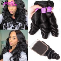 Upretty Loose Wave Bundles With Closure 3 Bundles Brazilian Hair Weave Bundles Loose Wave Human Hair Bundles With Closure 4 pcs