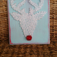 Rudolph Nail and String Art, Christmas Home Decor, Turquoise and Red Distressed Wood Sign, Shiny Red Nose Sign, Glittery Reindeer Decor