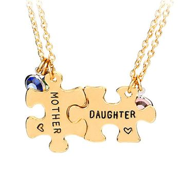 mother daghter necklaces women Interlocking Jigsaw Puzzle Necklace pendants For 2 Stitching jewelry mothers day gift to children