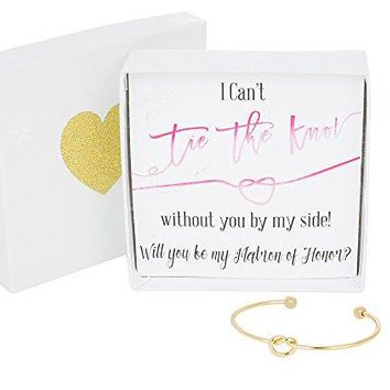 Bridesmaid Gifts  Tie The Knot Matron of Honor Bracelet w Gift Box Maid of Honor Gift Love Knot Jewelry Bridal Party Gift Sets Gold Rose Gold Silver