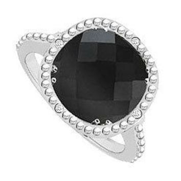 Sterling Silver Genuine Black Onyx and Cubic Zirconia Ring 2.05 CT TGW