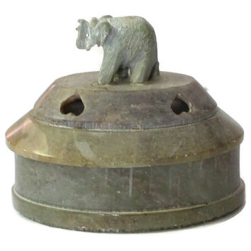 Hand Carved Stone Elephant Ring Box Made In India, Elephant Trinket Box, Elephant Keepsake Box, Elephant Box