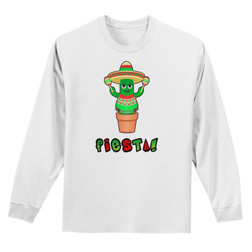 Fiesta Cactus Poncho Text Adult Long Sleeve Shirt