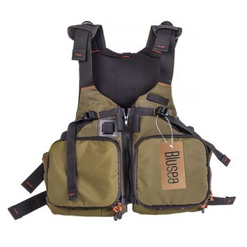 Blusea Fly Fishing Vest Pack Breathable Kayaking Fishing Life Jacket Safety Waistcoat Survival Utility Vest Carp Fishing Tackle