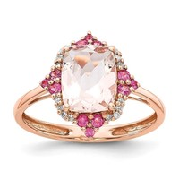 14k Rose Gold Antique Cushion Morganite, Diamond & Pink Sapphire Ring