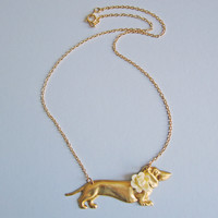 Such A Dachsing Boy Dachshund Dog Necklace | Eclectic Eccentricity Vintage Jewellery