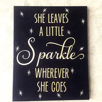 She Leaves a Little Sparkle Wherever She Goes - Nursery Room Art - Nursery Decor - Nursery Art - Nursery Room Decor - Light Up Canvas - OOAK