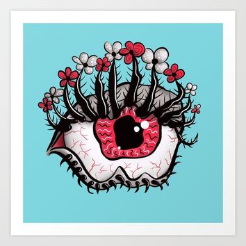 Eye Melt - Weird Red Eye With Flower Eyelashes Art Print by borianagiormova