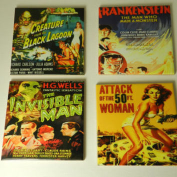 Horror Movie Drink Coasters Vintage Movie Coasters Ceramic Set 4 Assorted