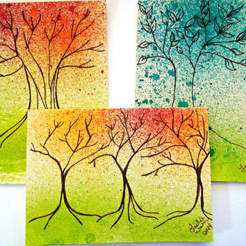 Hand Painted Cards Trees Blank Inside 4 x 5.5 inches SFA