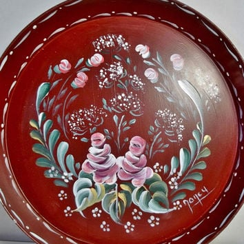 A Metal Tray, Painted Burgundy, Hand Painted, Original Design, Rosemaling, Bavarian Folk Art.