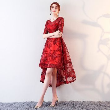 O-Neck Half Sleeve Appliques Lace Zipper Dresses High And Low Length Formal Dress