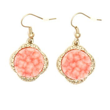 Pink Coral Druzy Crystal Dangle Earrings Gold Tone Circle EJ17 Fashion Jewelry