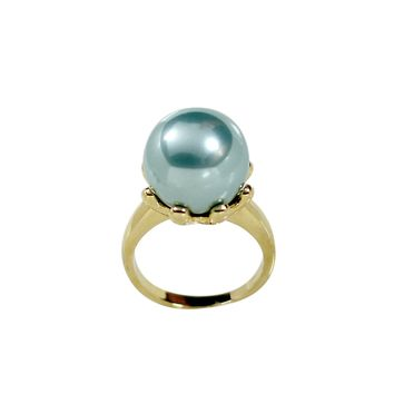 Large Teal Prong Set Simulated Pearl Fashion Ring Finished in Gold Tone